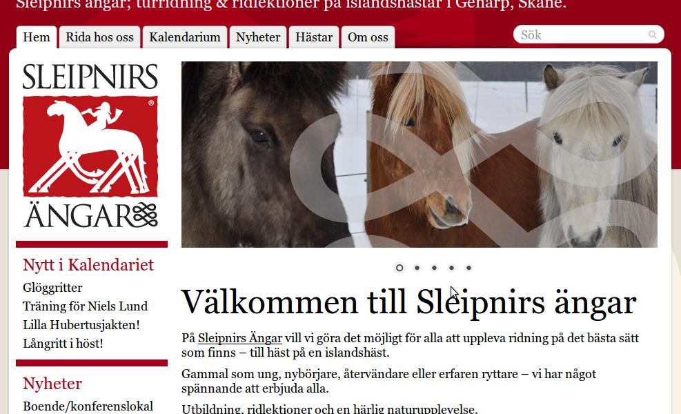 Sleipnirs ängars nya sajt